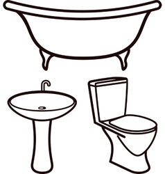 set of bathroom elements vector image