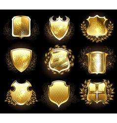 Set of Golden Shields vector