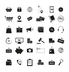set of shopping black icons vector image