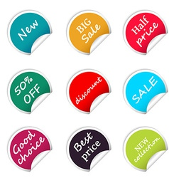 Set of web sale circle stickers for online shop vector