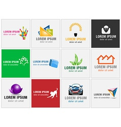 Set twelve icons for business logos vector