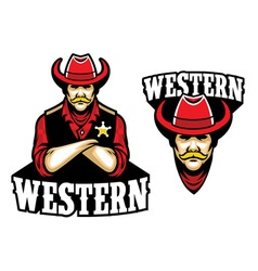 Sheriff crossed arm mascot vector