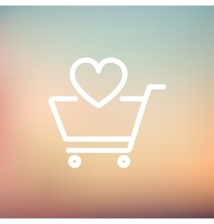 Shopping cart with heart thin line icon vector image