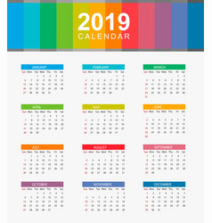 Simple calendar layout for year 2019 week starts vector