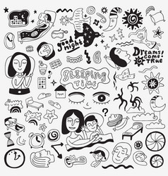 Sleeping time - hand drawn doodle set design vector