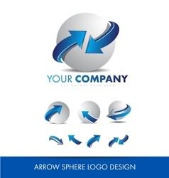 Sphere 3d arrow logo icon design set vector