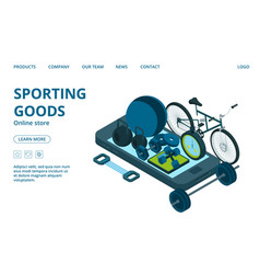 sporting goods online store landing page template vector image