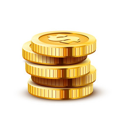Stack golden dollar coins isolated on white vector
