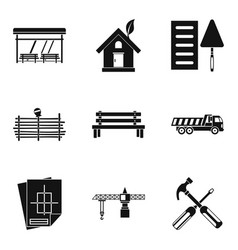 Street seat icons set simple style vector