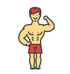 strong man bodybuilder muscles concept line vector image vector image