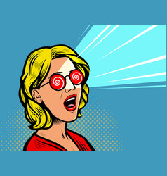 surprised beautiful girl retro comic pop art vector image