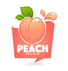 Sweet peach season label or sticker looks like a vector