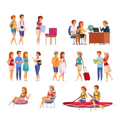 travel agency cartoon set vector image