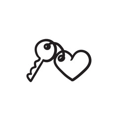 Trinket for keys as heart sketch icon vector