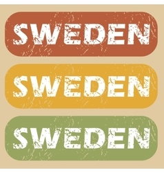 Vintage Sweden stamp set vector image