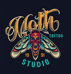 vintage tattoo studio colorful logotype vector image