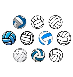 Volleyball balls in outline and cartoon style vector image