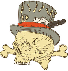 Voodoo skull in old hat vector