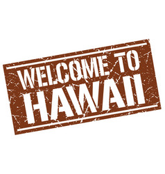 Welcome to hawaii stamp vector
