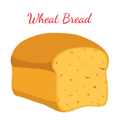 Wheat bread whole grain loafcartoon style vector