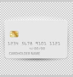 white blank bank card template top view with vector image