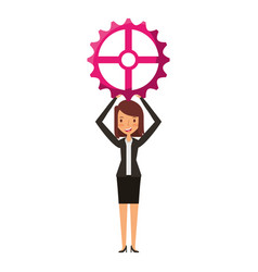 businesswoman with gear avatar character icon vector image vector image