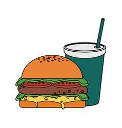 fast food hamburger icon vector image vector image