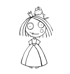 Princess and Prince Frog Portrait Coloring Page vector image