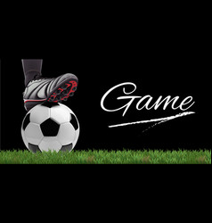 soccer ball with football player feet on grass vector image