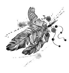 Watercolor with bird feathers vector image
