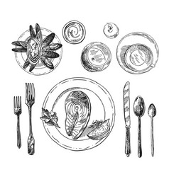 hand drawn table setting vector image