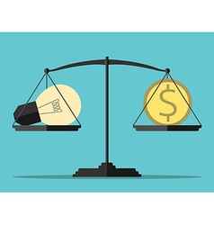 Light bulb money balance vector image