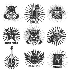 Rock band festival icons skull and guitar vector