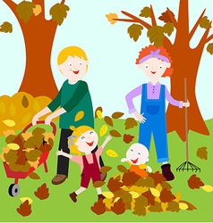 Family in fall vector image