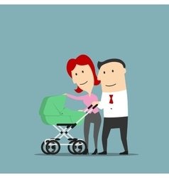 Father and mother over baby carriage vector image vector image