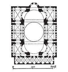 Plan of hagia sophia later a mosque vintage vector