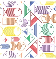 Seamless pattern of colorful cartoon fishes vector image vector image