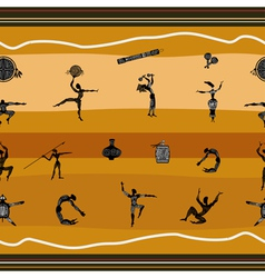 Seamless pattern with figures of primitive people vector image vector image