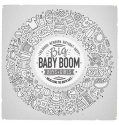 Set of baby cartoon doodle objects round frame vector