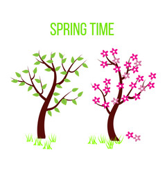 spring time tree composition with flowers and vector image vector image
