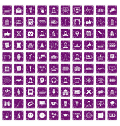 100 conference icons set grunge purple vector image
