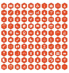 100 preschool education icons hexagon orange vector