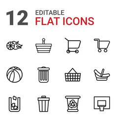 12 basket icons vector