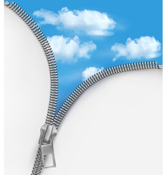 Abstract background with zipper and cloudy sky vector image