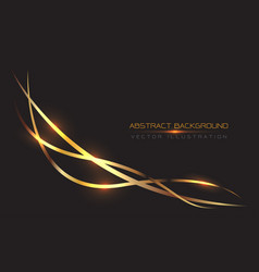 Abstract gold line curve light on black vector