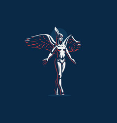 An angel girl with arms spread and wings vector