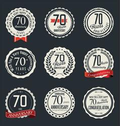 anniversary retro vintage badge collection 70 vector image