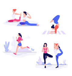 athletic young women workin out doing fitness vector image