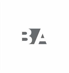 Ba logo monogram with negative space style design vector