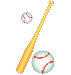Baseball bat and balls vector